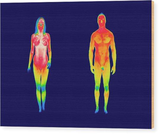 Nude Woman And Man Wood Print