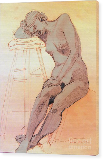 Nude Woman Leaning On A Barstool Wood Print