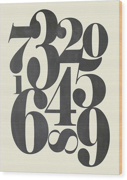 Numbers Cream Wood Print
