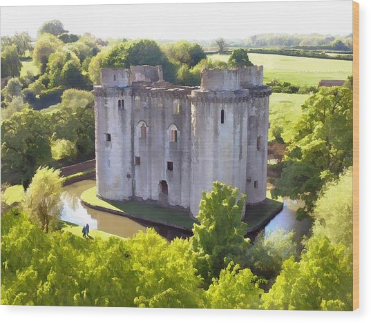 Nunney Castle Painting Wood Print
