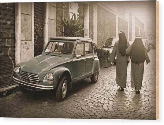 Nuns With Vintage Car Wood Print