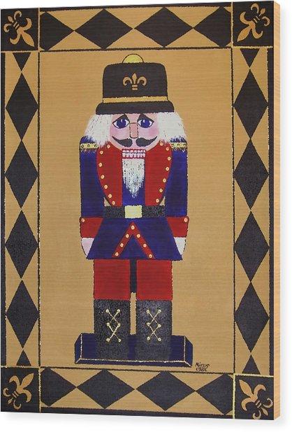 Nutcracker Floor Cloth Sgt. Blue Wood Print