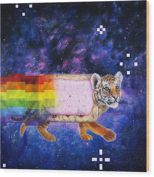 Nyantiger Nyancat Two Point Oh Wood Print by David Starr