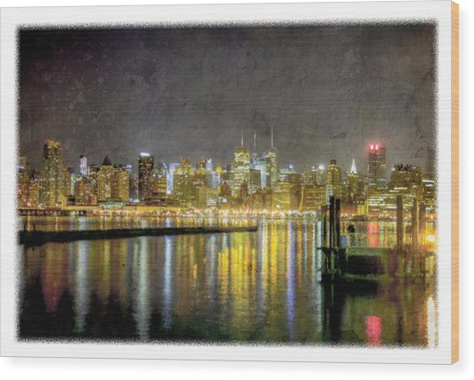 Nyc At Night Wood Print
