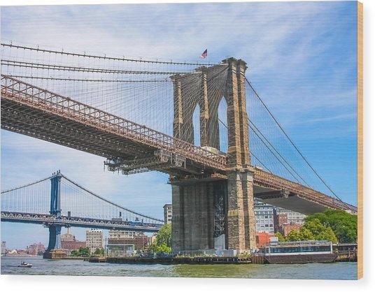 Nyc Bridges To Brooklyn Wood Print