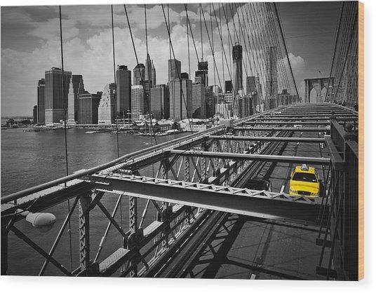 Nyc Brooklyn Bridge View Wood Print by Melanie Viola
