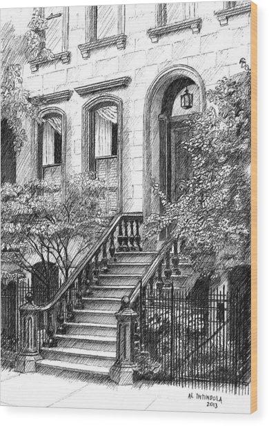 Nyc Brownstone Wood Print