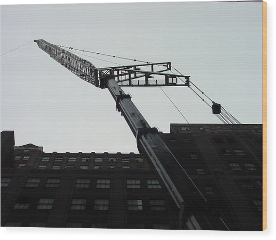 Nyc Construction Crane  Wood Print