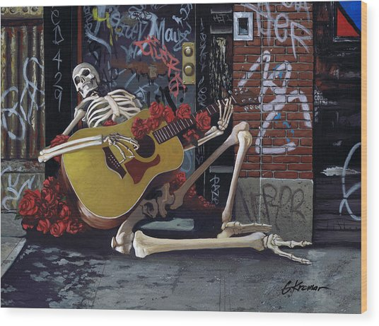 Nyc Skeleton Player Wood Print
