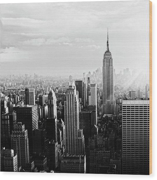 Nyc Skyline.black And White Wood Print by Lisa-blue