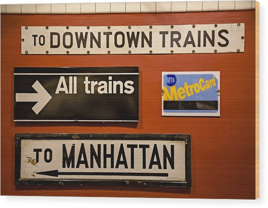 Nyc Subway Signs Wood Print