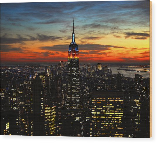 Nyc Sunset Wood Print