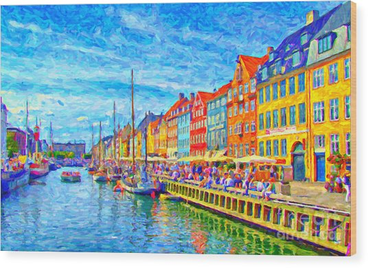 Nyhavn In Denmark Painting Wood Print
