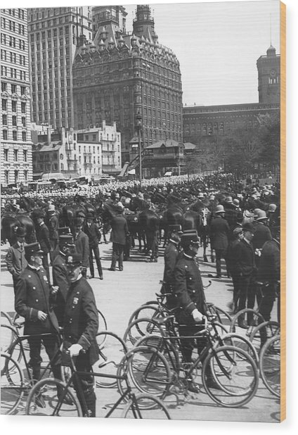 Nypd Bicycle Force Wood Print