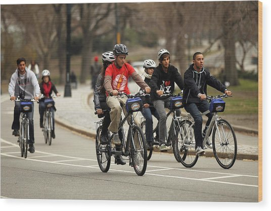 Nypd Steps Up Ticketing Of City Bicyclists Wood Print by Spencer Platt
