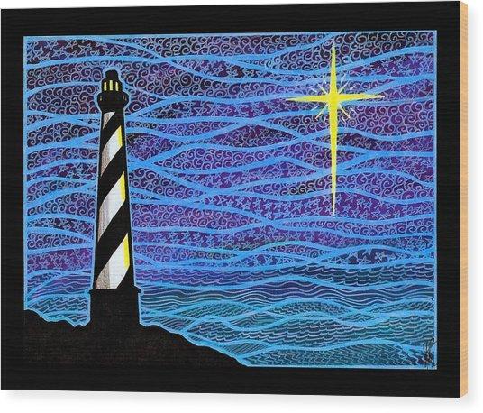 O Holy Night Hatteras Wood Print