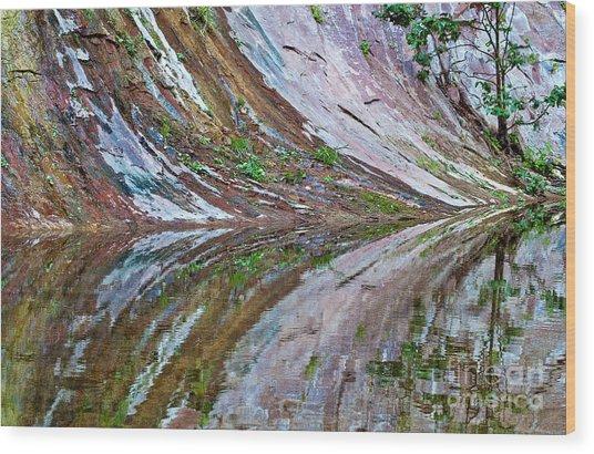 Wood Print featuring the photograph Oak Creek Canyon Reflection by Mae Wertz