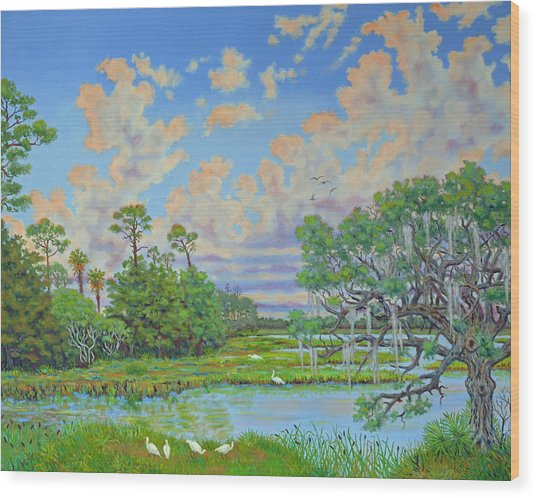 Oak Tree At Botany Bay Plantation Wood Print
