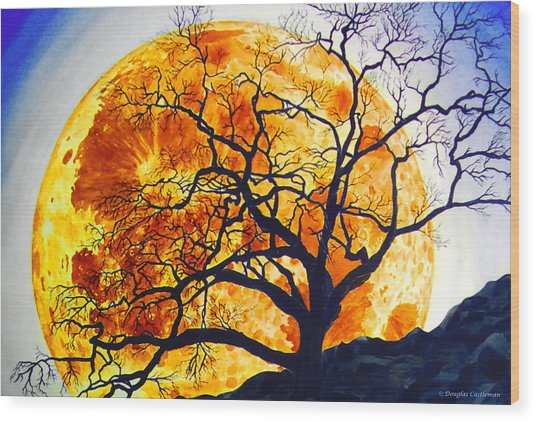 Oak Tree Moonrise Wood Print