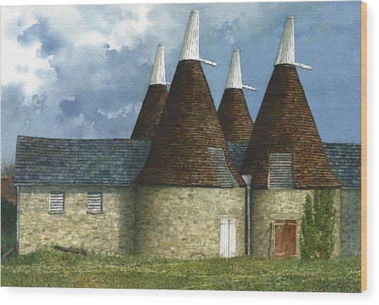 Oast Houses Wood Print