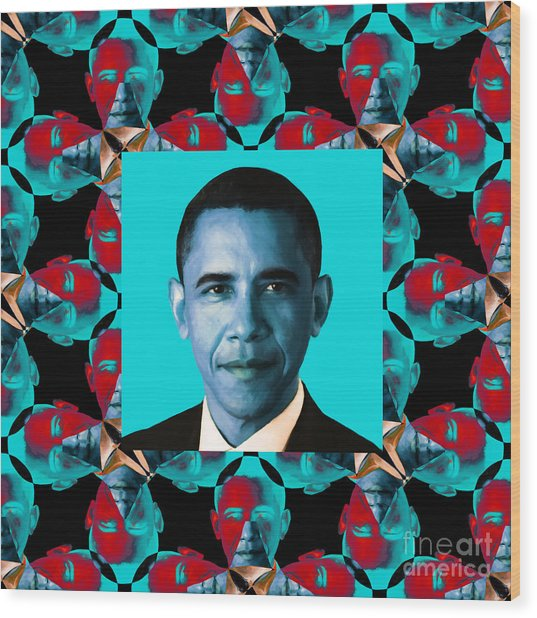 Obama Abstract Window 20130202m180 Wood Print by Wingsdomain Art and Photography