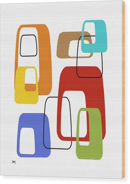 Oblongs On White 4 Wood Print