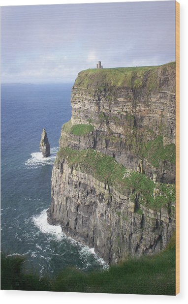 Cliffs Of Moher - O'brien's Tower Wood Print