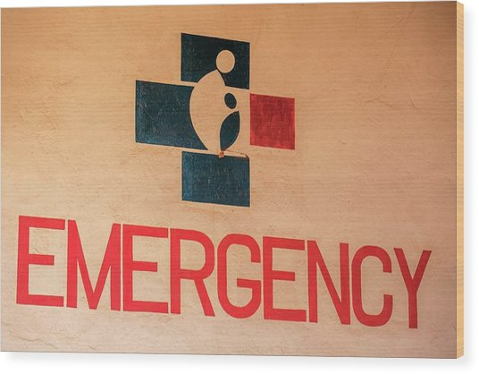 Obstetrics Emergency Sign Wood Print by Mauro Fermariello/science Photo Library