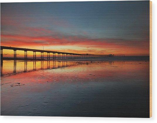 Ocean Beach California Pier 3 Wood Print by Larry Marshall