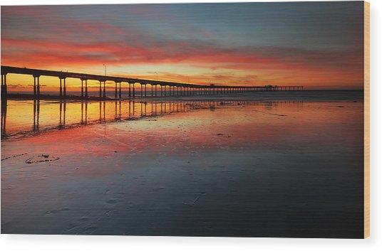 Ocean Beach California Pier 3 Panorama Wood Print by Larry Marshall