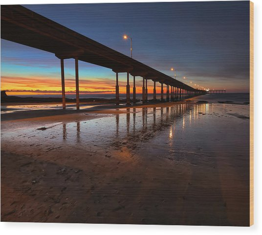 Ocean Beach California Pier 4 Wood Print by Larry Marshall
