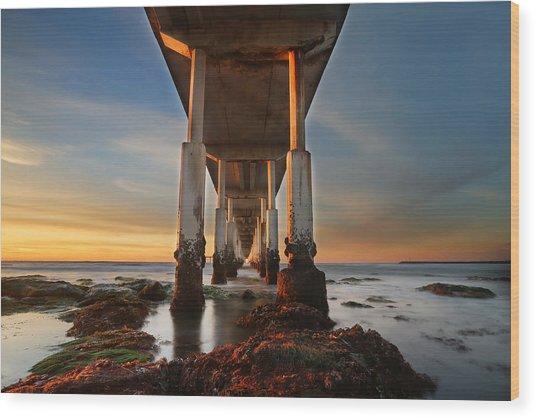 Ocean Beach California Pier Wood Print by Larry Marshall