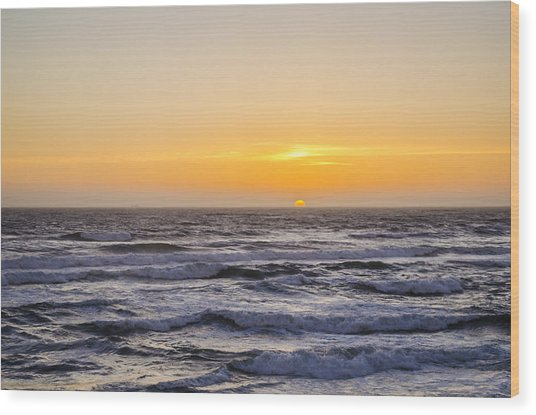 Ocean Beach Sunset Wood Print