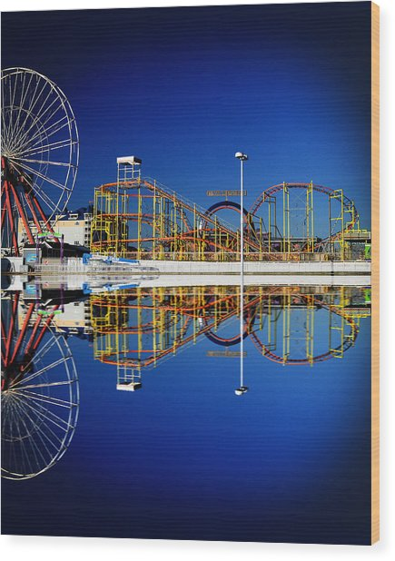 Ocean City Amusement Pier Reflections Wood Print