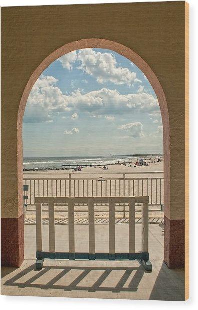 Ocean City Beach View Wood Print