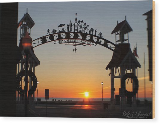Ocean City Boardwalk Arch New Year Sunrise Wood Print