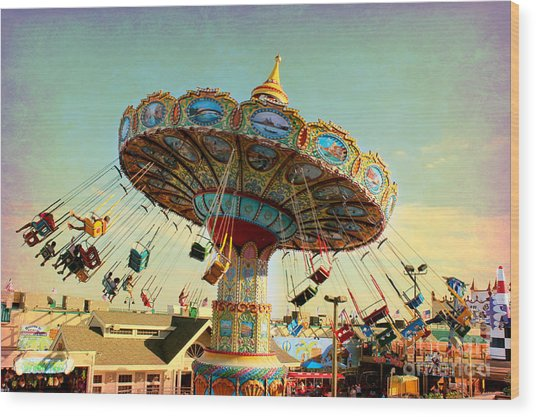 Ocean City Nj Carousel Swing Time Wood Print