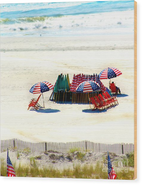 Ocean City Nj Stars And Stripes Wood Print