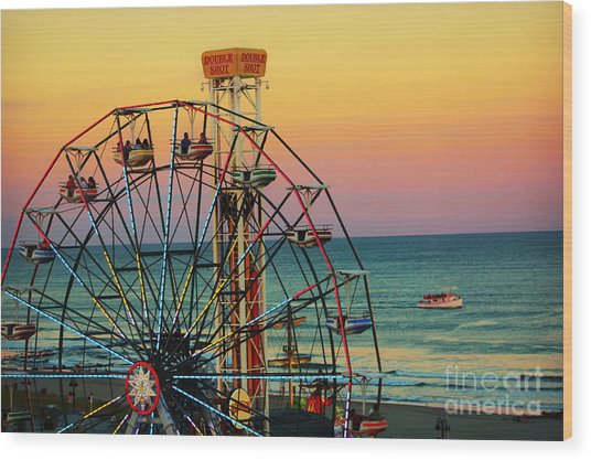 Ocean City Nj Wonder Wheel And Double Shot Wood Print