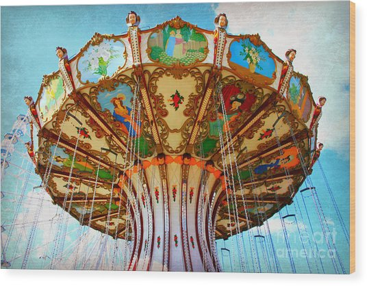 Ocean City Swing Carousel Wood Print