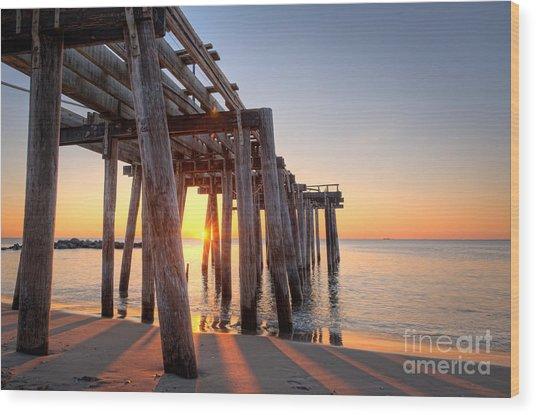Ocean Grove Pier Sunrise Wood Print