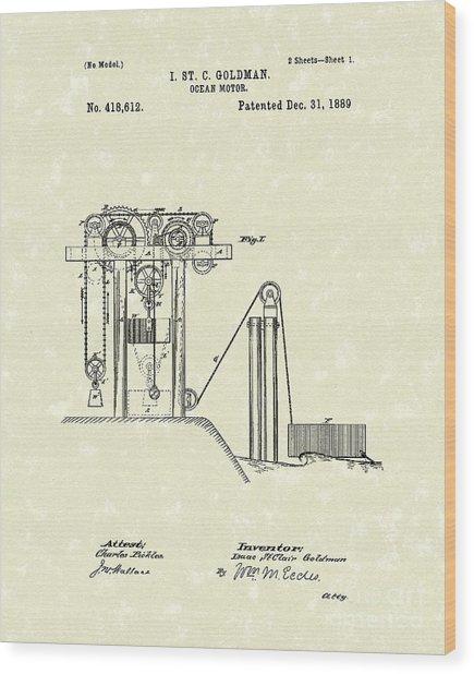 Ocean Motor 1889 Patent Art Wood Print