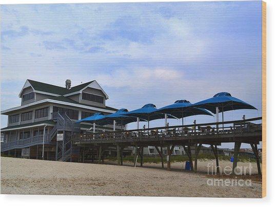 Ocean Pier And Restaurant Wood Print