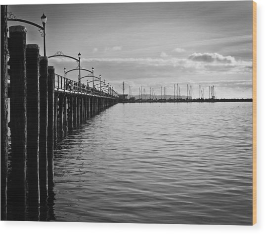 Ocean Pier In Black And White Wood Print