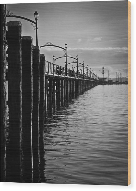 Ocean Pier In Black And White II Wood Print