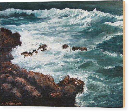 Ocean Rocks  Wood Print