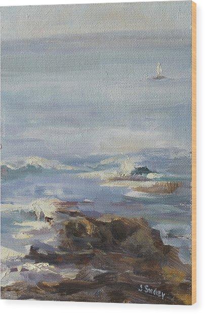 Ocean Rocks With Sailboat Wood Print