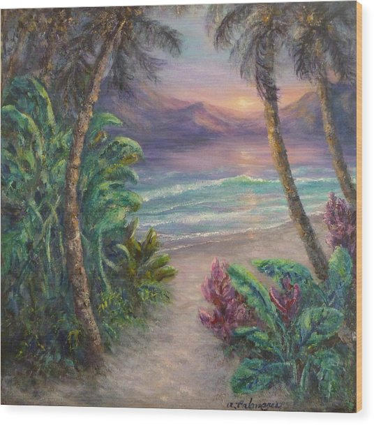 Ocean Sunrise Painting With Tropical Palm Trees  Wood Print