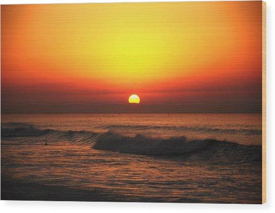 Ocean Sunset Wood Print by Manu G