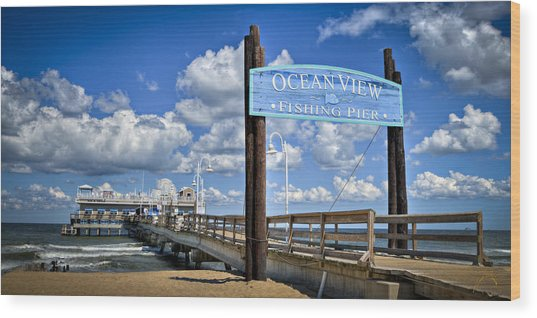 Ocean View Fishing Pier Color Wood Print by Williams-Cairns Photography LLC
